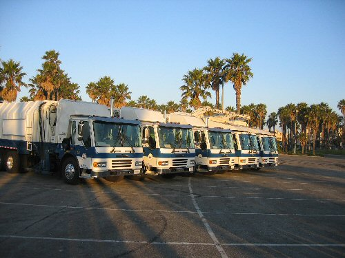 Fleet of garbage trucks Opens in new window